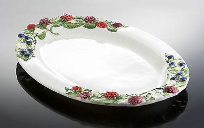 Bassano große ovale Servierplatte Beeren Ausgefallene italienische Keramik 50x35