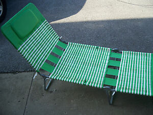 1 Vintage Plastic Vinyl Tube Strap Lawn Chaise Lounge