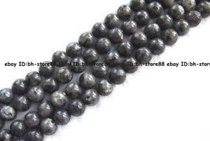 4-6-8-10-12-14mm-Natural-black-Larvikite-round-gemstone-Beads-15