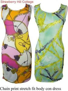 Signature-sleeveless-stretch-fit-body-con-vest-dress-chain-silky-scarf-design