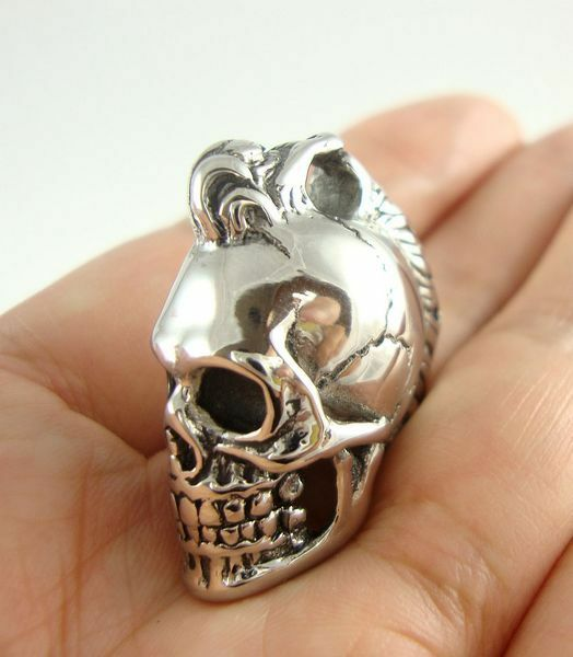 Gothic Cool 316L Stainless Steel Skull Pendant Men's Necklace Chain Silver