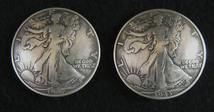 (2) SILVER WALKER HALF DOLLAR CONCHO/ BUTTONS (heads) #728