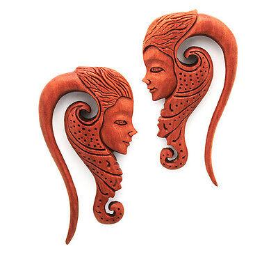 WOOD HINDU GODDESS OF BEAUTY HANGING EAR GAUGE PLUG ORGANIC shiva tribal buddha