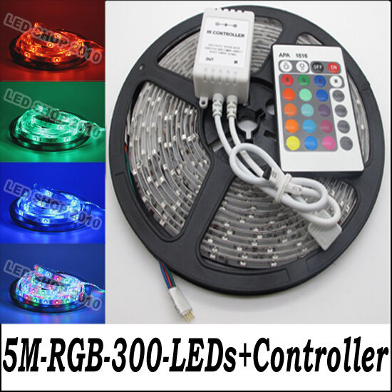 5M 3528 RGB Waterproof Flexible Strip 300 LED Light + IR remote controller