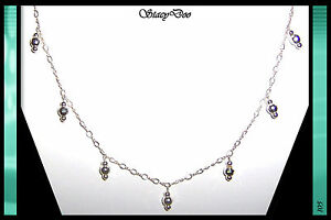STERLING SILVER FACETED, BEADED DROP CHAIN NECKLACE (105)