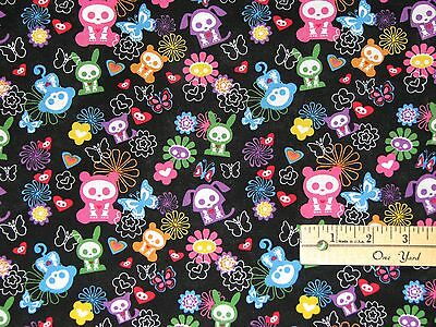 Skelanimals Skel Animals Tossed Icons Fabric by the 1/2 Yard  BTHY