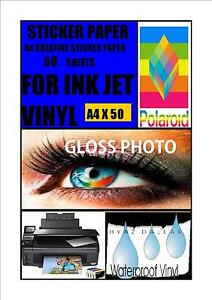 50-WHITE-A-4-INKJET-SELF-ADHESIVE-STICKERS-GLOSS-PHOTO-QUALITY-VINYL-COATED