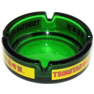 2-X-TSINGTAO-BEER-GREEN-TINT-GLASS-ASHTRAYS-BRAND-NEW