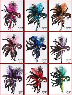 Party Masquerade Venetian Masks Metallic Feather Glitter Custom Cheetah Zebra