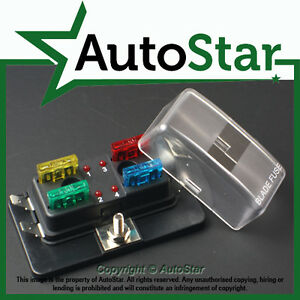 4 way blade fuse box 1 positive bus in led warning apr atc ato 12v image is loading 4 way blade fuse box 1 positive bus