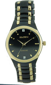elgin fg8021 men 039 s black ip gold tone watch diamonds elgin fg8021 men 039 s black ip gold