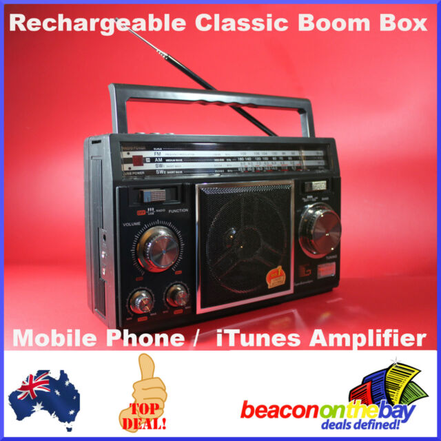 Vintage Style Boom Box Rechargeable Mp3 USB Mobile Phone Amplifier 4 Band Radio