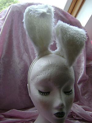 White Floppy Eared Rabbit / Hare Ears Faux Fur Ears Rabbit Fancy Dress