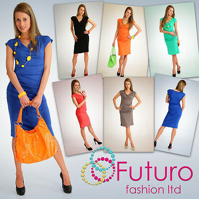 Stunning Elegant Women's Dress Cowl Neck Tunic Knee Length Size 8 -12 5414