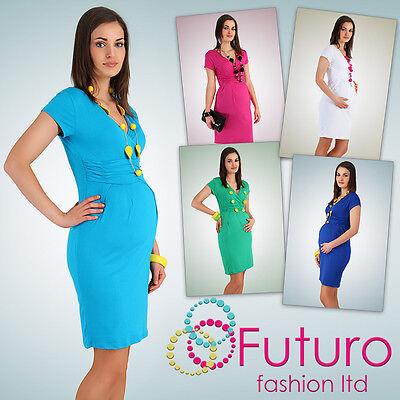 Women's Maternity Dress Tunic Short Sleeve V-Neck Stretchy Sizes 10-20 FT834