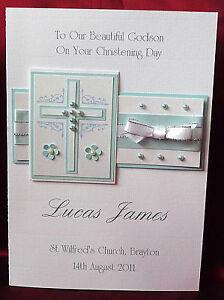 Personalised-Handmade-A5-Christening-Card-Boy-Grandson-Godson-Nephew-1539Blue
