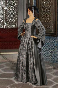 Medieval-Renaissance-or-Gothic-Dress-Gown-Handmade-from-Embroidered-Taffeta