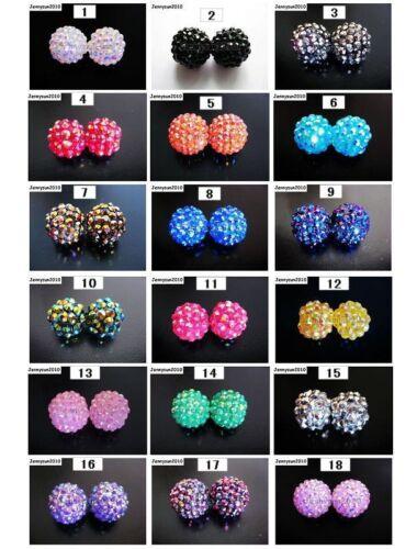 Freeshipping 20pcs Sparkling AB Resin Rhinestones Round Ball Spacer Beads Pick