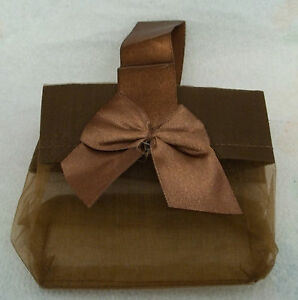 6-Small-Brown-Chocolate-Organza-Jewelry-3x2x3-034-Gift-Tote-Bags-Satin-Bow-amp-Handle