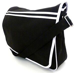 LARGE-UNI-MESSENGER-BAG-work-college-satchel-school-laptop-shoulder-bag-Black