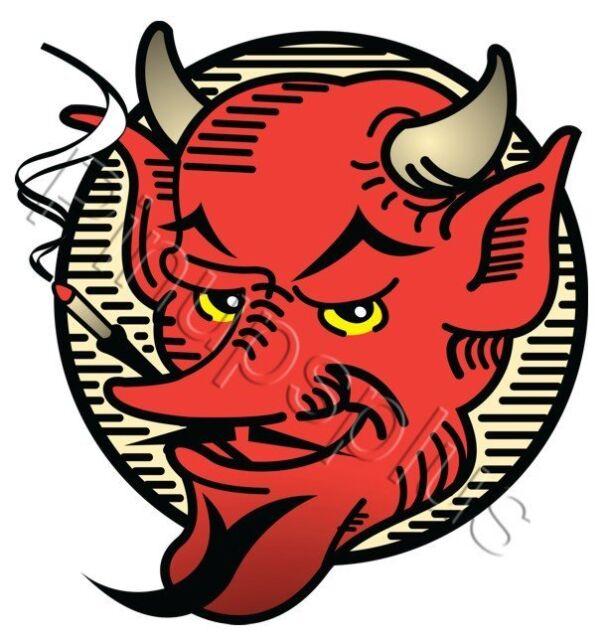 Vintage 50s Rockabilly Style Devil head Waterslide Decal Sticker S329