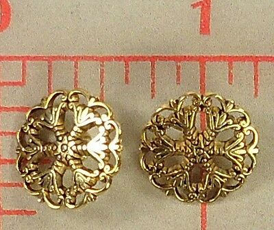 12 beautiful metal filigree buttons little star center antq gold color SM 15mm