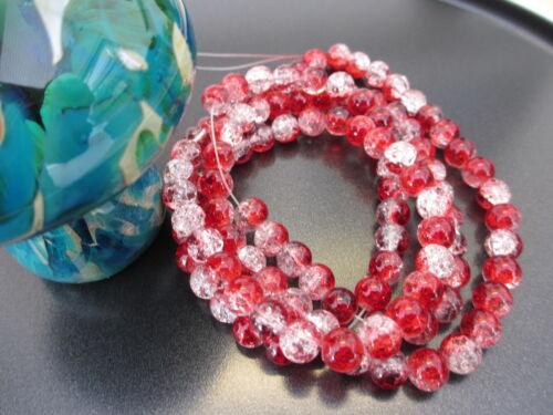 Beau craquelé ronde perles de verre dans la variation de tailles et couleurs vendeur britannique