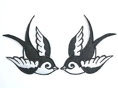 2x SWALLOWS Rockabilly Biker Tattoo Black & White Bird 2 Tone Patch Patches