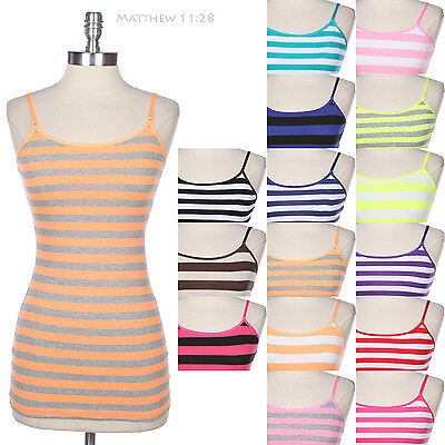 Striped Adjustable Spaghetti Strap Cotton Camisole Tank Top Cute Basic Easy Wear