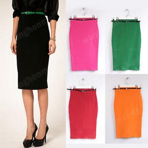 Sexy-Womens-High-Waist-Pencil-Belted-Stretch-Waist-Bandage-Knee-Length-skirt-M-L