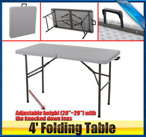 New-portable-4-039-Long-Plastic-Fold-in-Half-Table-banquet-camping-outdoor-patio