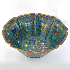 Antique-Chinese-Late-Qing-1880-1900-Cloisonne-Enamel-Floral-Motif-Bowl-10-5-W