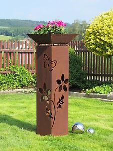 4Eck-Saeule-Rost-Blume-Saeule-Edelrost-Metall-Gartendeko-Stele-Rost-Deko-Pflanzen