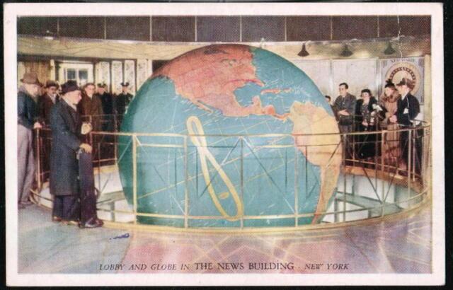 NYC NY News Building Lobby and World Globe Vintage Postcard Old City PC