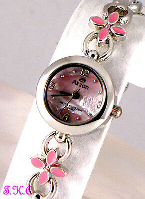 Shabby Chic Nouveau Enamel Flowers Mother Of Pearl Kitsch Ladies Bracelet Watch