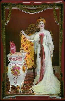 "Coca-Cola Scent Lady Victorian 8"" X 12"" Metal Embossed Sign"