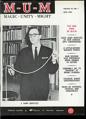 Rare Magic Magazine MUM June 1969 Rare Houdini Photo Magician Conjuring Tricks