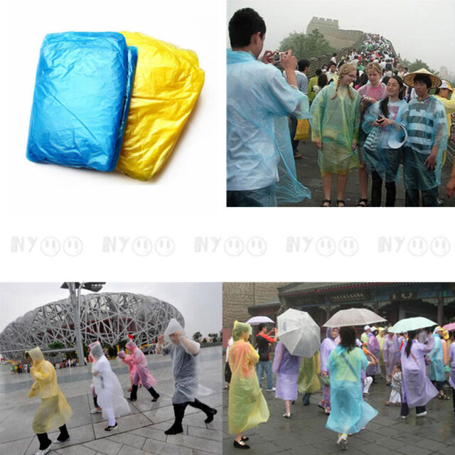 5 x Disposable Tourist Raincoat Plastic for Travel Camping Hiking Outdoors Trip