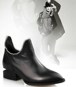 Black-Women-039-s-Real-Leather-Low-Heel-U-Chain-Ankle-Boots-Shoes-SIZE-US5-9-5