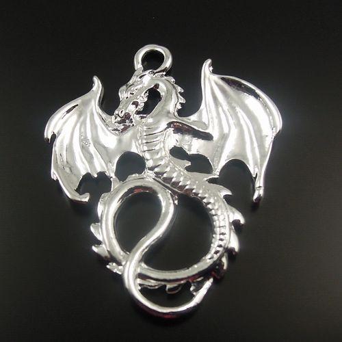 **Silver Tone Alloy Flying Dragon Pendant Fashion Charm 35*28mm 6PCS