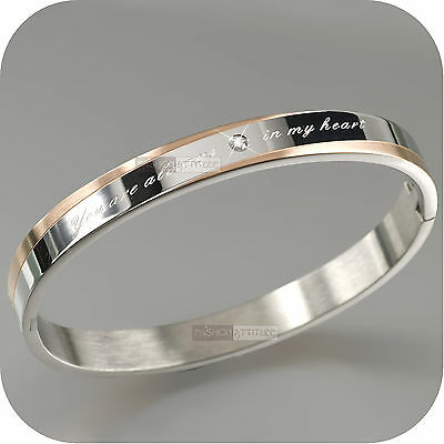 SILVER ROSE GOLD BRACELET BANGLE 316L STAINLESS STEEL OVAL IN SYDNEY NEW ARRIVAL