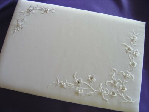 Guest Book Wedding Ivory Satin Pearls Diamontes Flowers Embroidered New