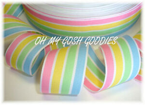 1-5-EASTER-BRIGHT-PASTEL-MULTI-STRIPE-PINK-BLUE-YELLOW-MINT-GROSGRAIN-RIBBON