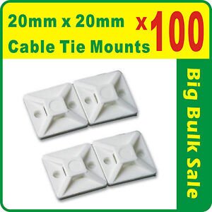 100-x-Cable-Tie-Mounts-Natural-White-20mm-x-20mm-Self-Adhesive-Free-Postage