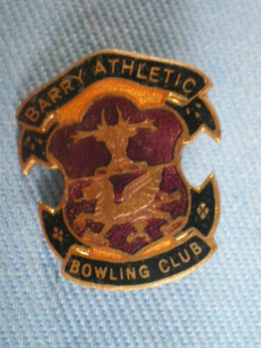 BARRY ATHLETIC BOWLING CLUB ENAMEL BADGE METAL LAPEL PIN BROOCH RARE