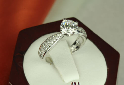 2.75 CT STERLING SILVER ROUND CZ VTG PAVE ANNIVERSARY ENGAGEMENT WEDDING RING S8