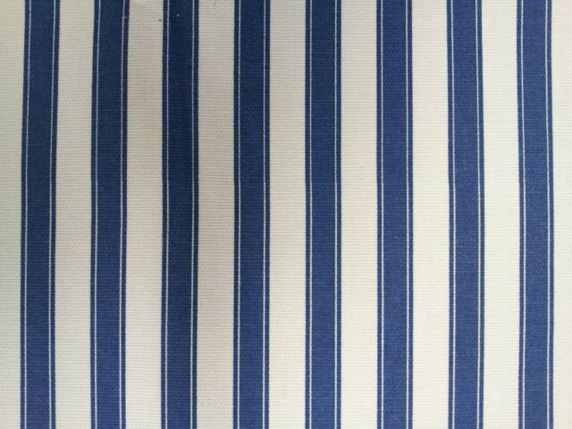 Ticking Stripe Cotton Blue Designer Curtain Upholstery Fabric