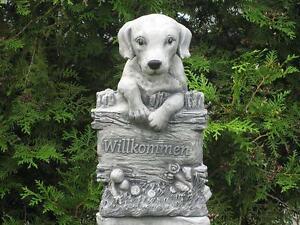 Steinfigur-Nr-162-Welcome-Willkommen-Hund-ca-35-cm-ca-12-kg-Frostfest-Stein