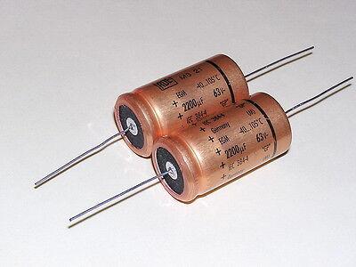 2pcs ROE EGM 2200uF 63V 105° axial Hi-Fi Audio Gold Capacitors.NOS.