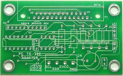 I2C to PC LPT Adapter Blank PCB  GREAT for EDU  Qty 1 #100005